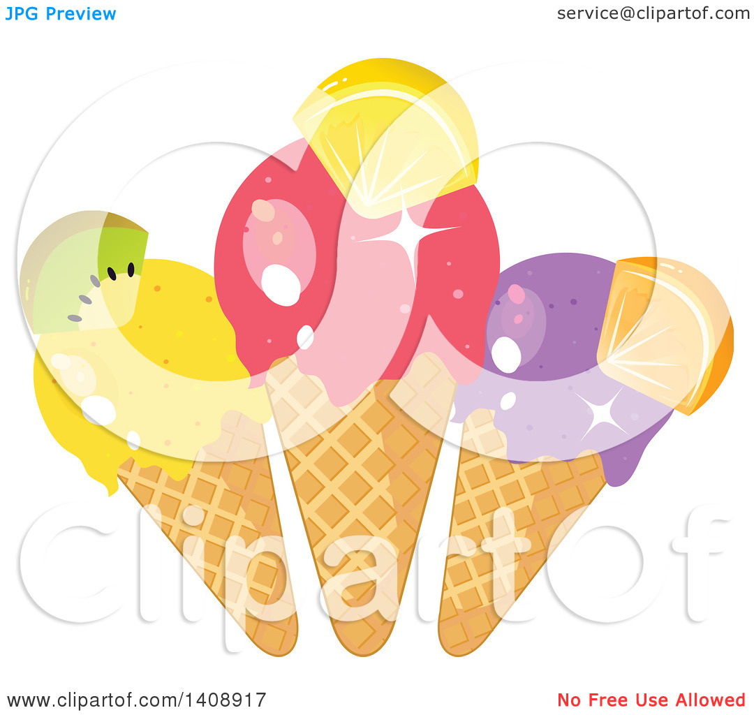 Clipart of a Trio of Waffle Ice Cream Cones Garnished with Fruit.