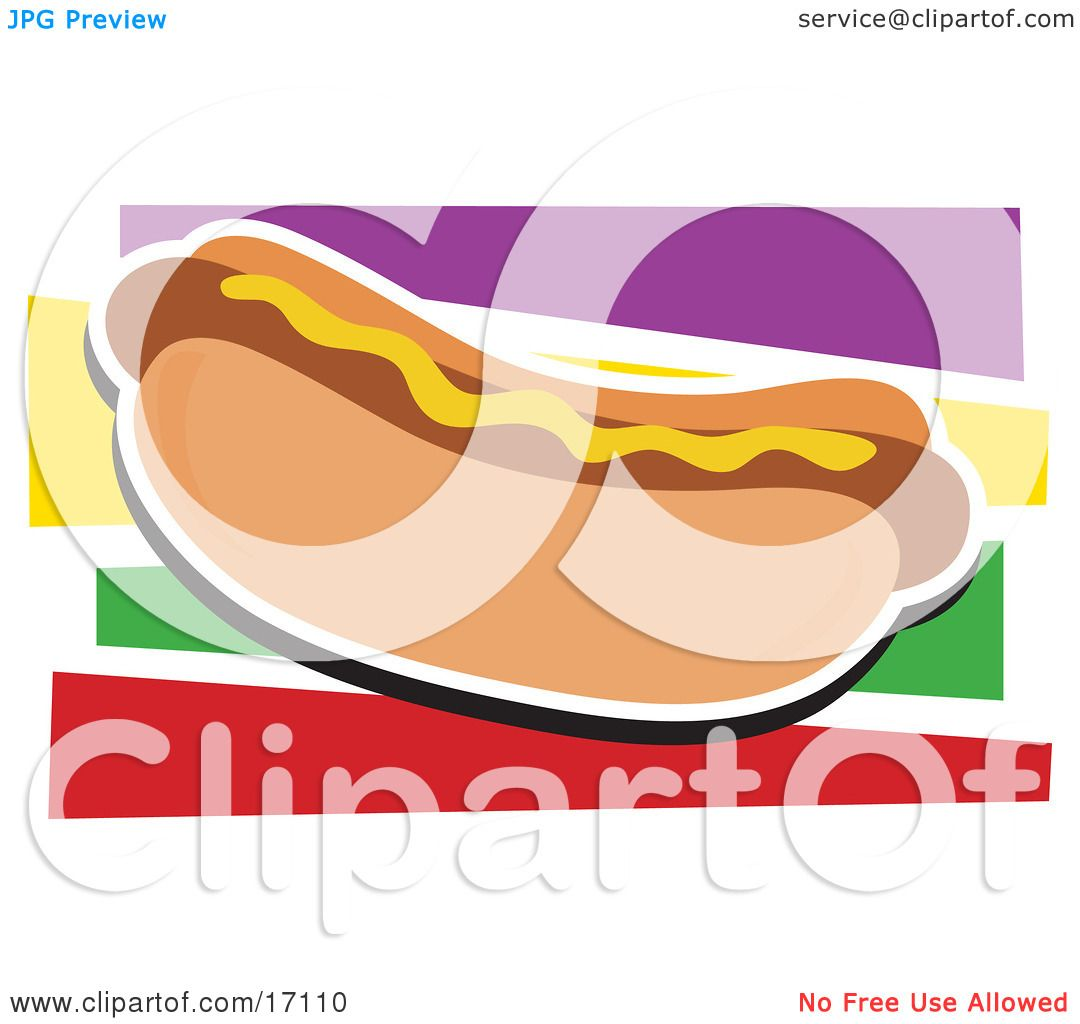 Fast Food Hot Dog on a Bun and Garnished With Mustard Clipart.