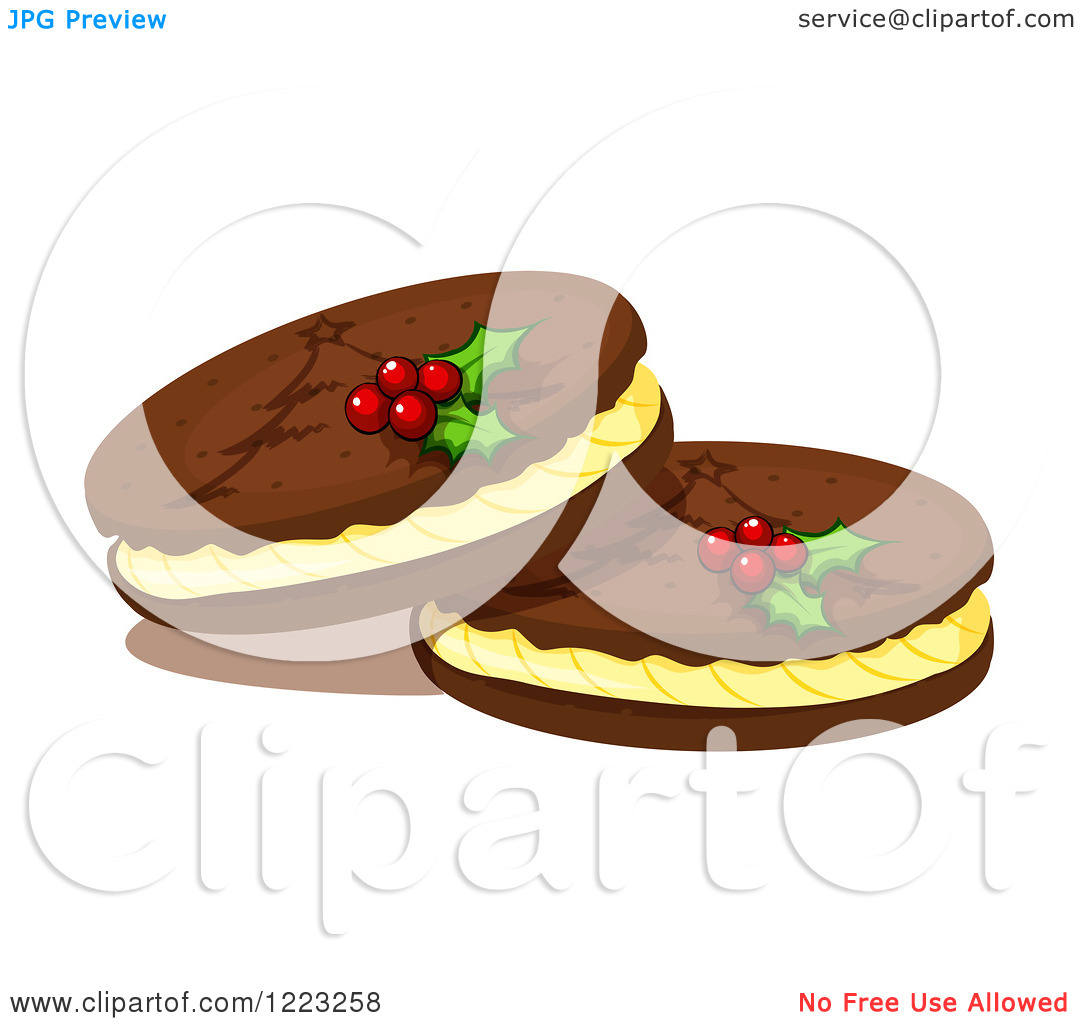 Clipart of Christmas Cookies Garnished with Holly.