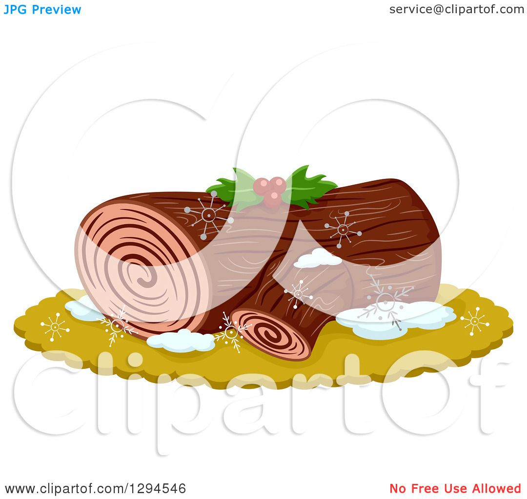 Clipart of a Yule Log Dessert Garnished with Holly.