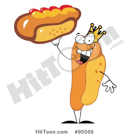 Hot Dog Clipart #95500: King Hot Dog Holding up a Garnished Hot.