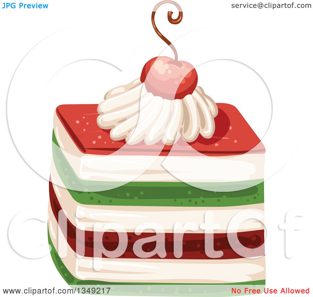 Clipart of a Red Cream and Green Layered Cake Garnished with a.