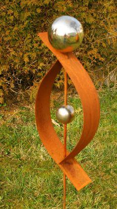 Gartendeko Rost Skulptur 120 cm mit Edelstahlkugel Garten Deko.