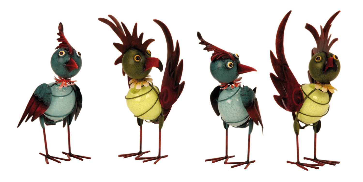 Cool Metal Birds 4 pieces Gartendeko standing height 22.