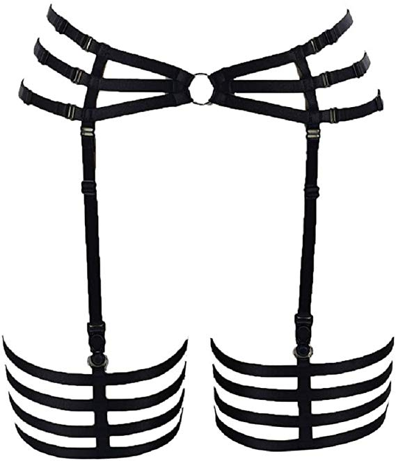 BODY CAGE Women\'s Leg Garters for Stockings Harness Suspenders Belt.