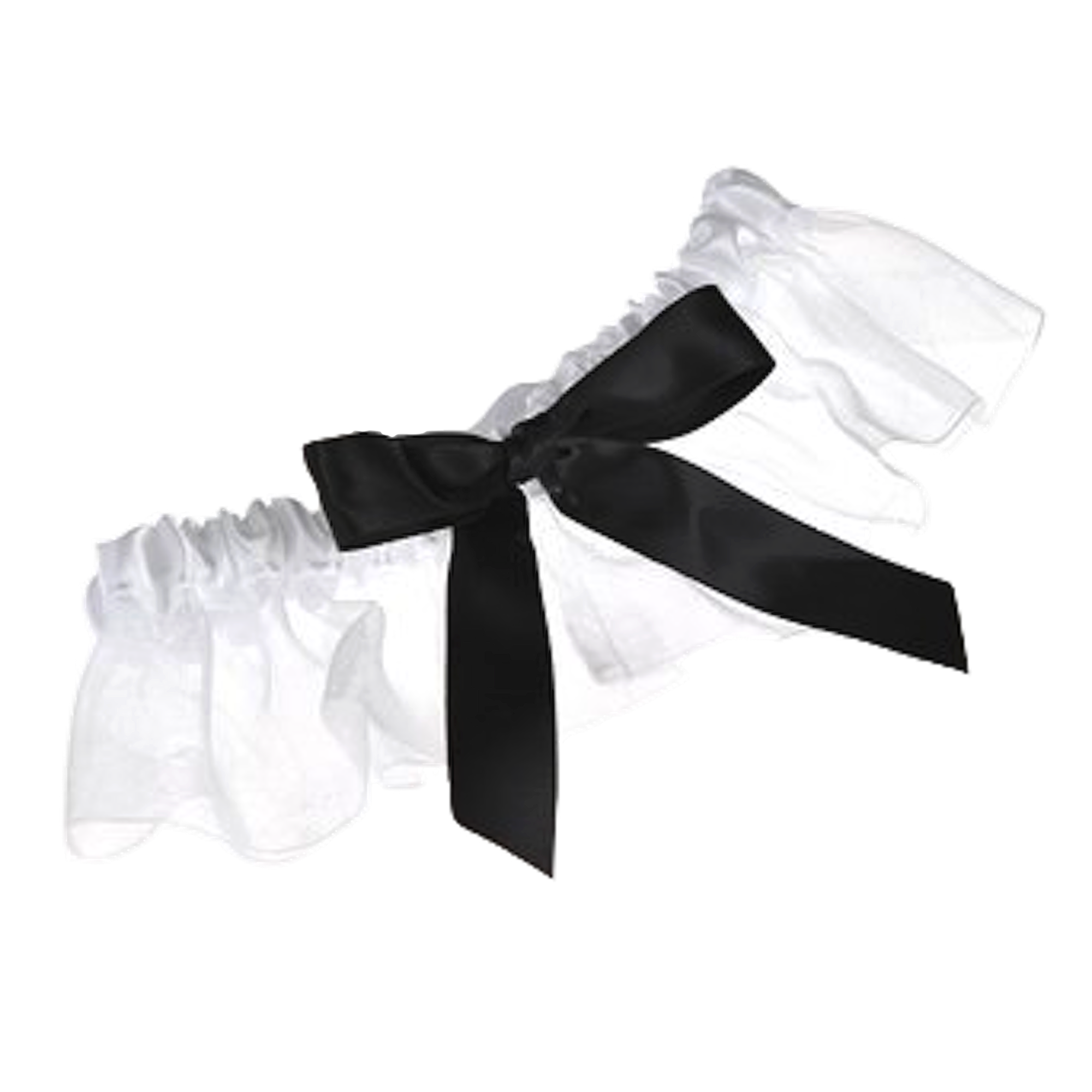 Topwedding White Organza Wedding Garter With Black Satin Bowknot.