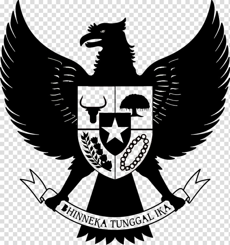 Black Hinneka Tunggal Ika logo illustration, National emblem.