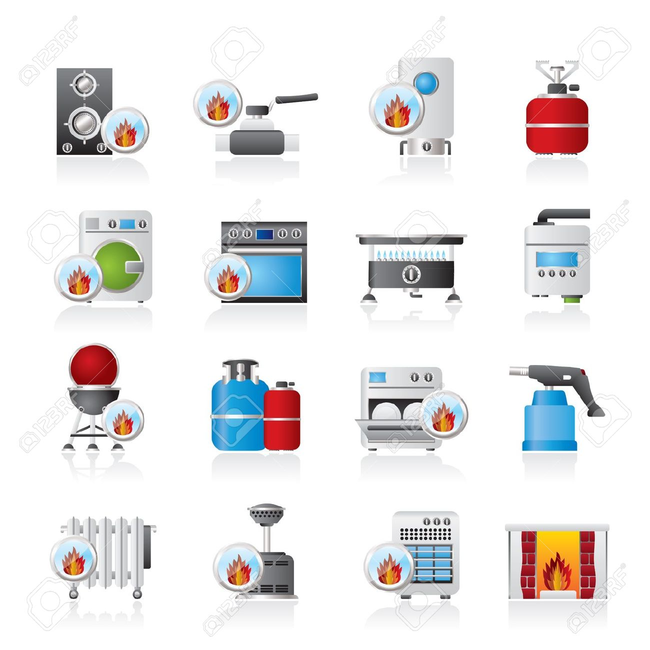 Household Gas Appliances Icons.