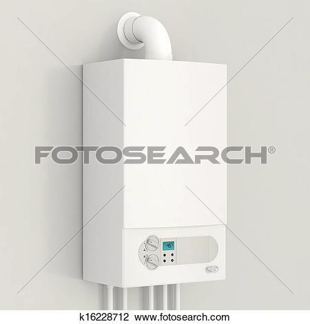 Clip Art of White gas boiler. k16228712.