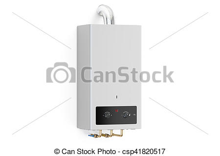 Clipart of Home gas boiler, water heater. 3D rendering isolated on.