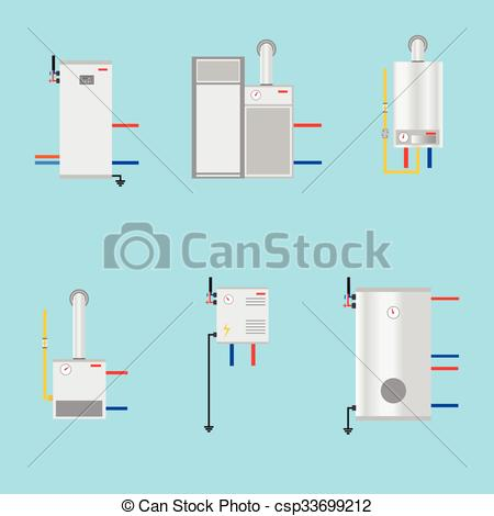 Vector Clip Art of Different boilers icons set. Flat style.