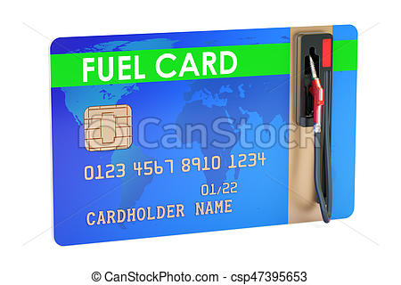 Fuel card with gas pump nozzle, 3D rendering.