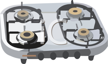 Royalty Free Clipart Image: Gas Stove Top.