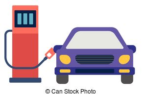 Clip Art Vector of Refuel Car at Gas Station.