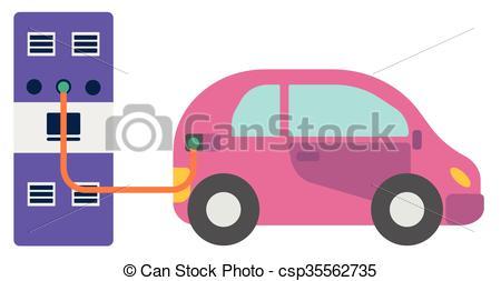Clip Art Vector of Refuel Car at Gas Station.