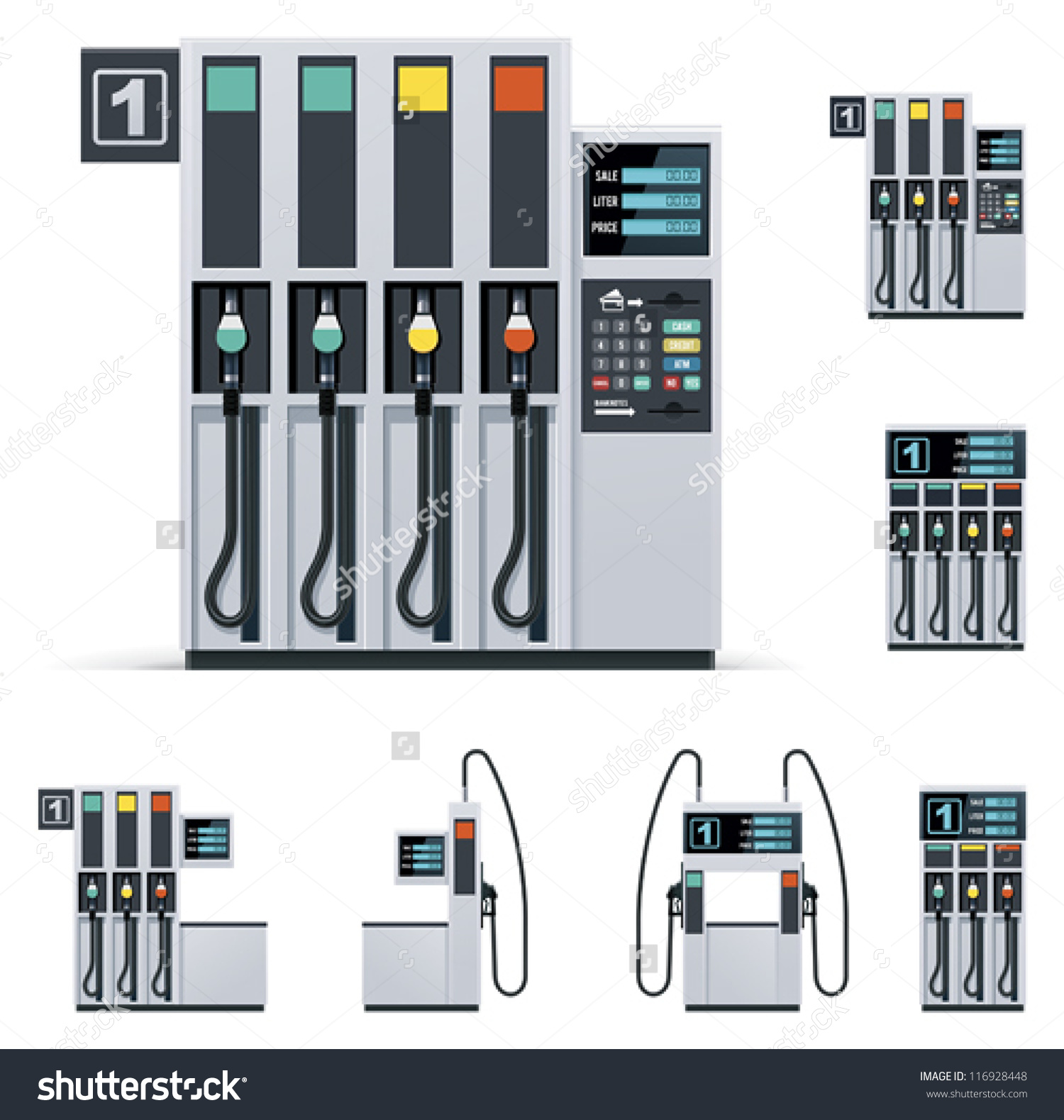 Vector Modern Petrol Gas Filling Station Stock Vector 116928448.