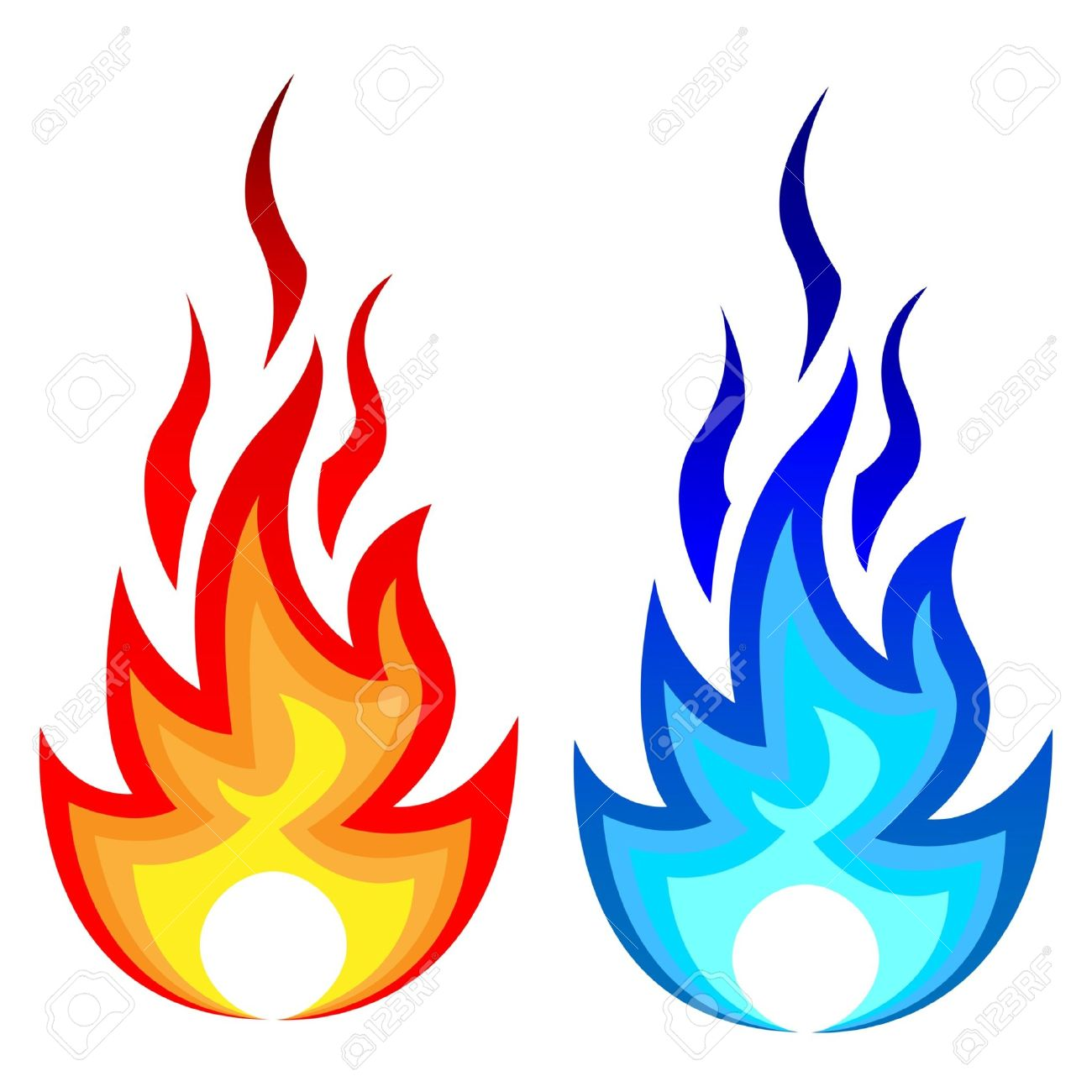 Illustration Of Flame Fire And Gas Flame. Royalty Free Cliparts.