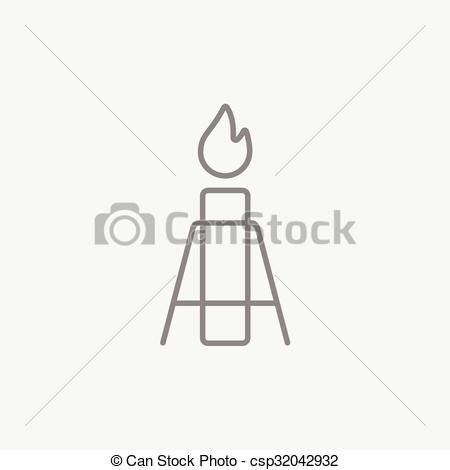 Vectors of Gas flare line icon..