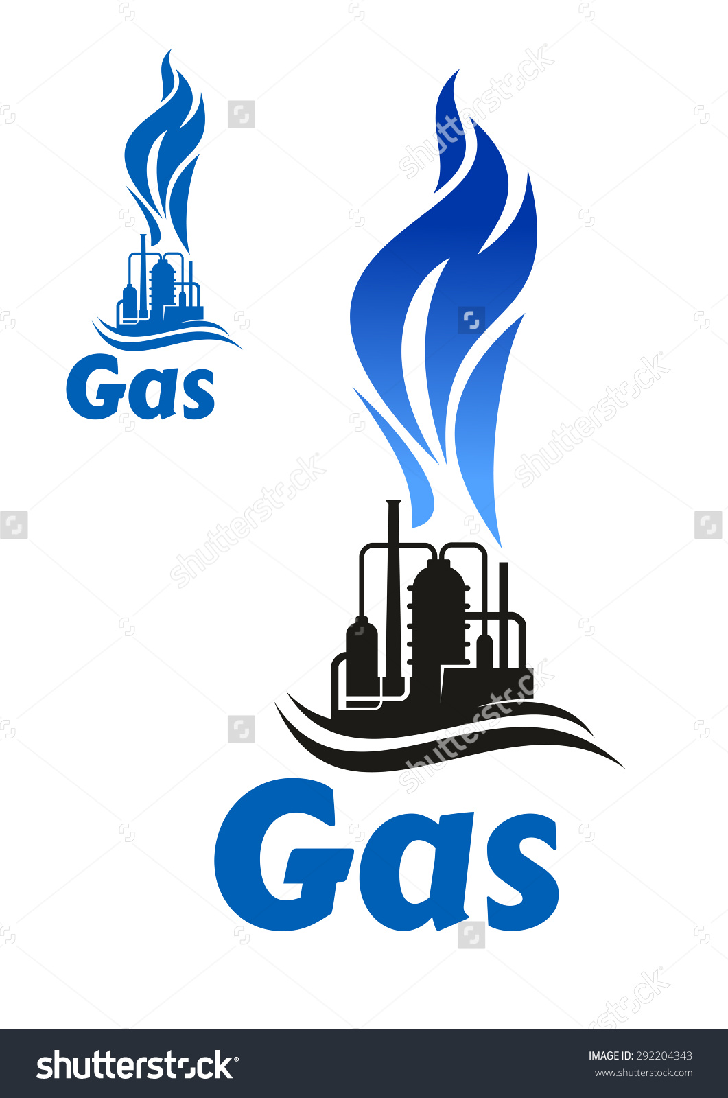 Black Silhouette Industrial Plant Flare Stack Stock Vector.