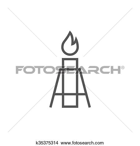 Clipart of Gas flare line icon. k35375314.