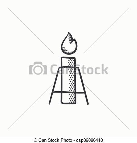 Vector Clip Art of Gas flare sketch icon..
