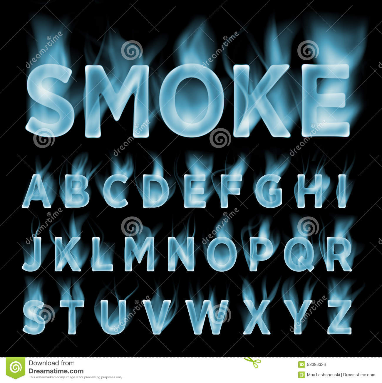 Smoke Font Collection. Fog And Clouds Font. Gas Font. Stock.