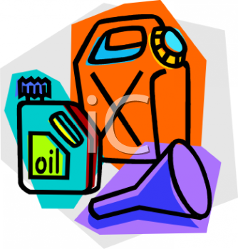 Gas Can, Oil Can and Oil Funnel.
