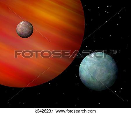 Stock Illustration of Moons orbiting a reddish gas giant.