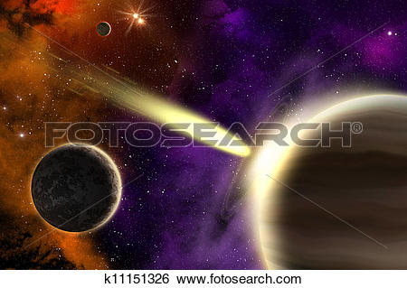 Stock Illustration of Gas giant planet and comet k11151326.
