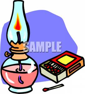 Art Image: A Box of Matches Next To an Oil Lamp.