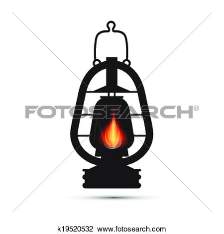 Clipart of Vintage Lantern, Gas Lamp Illustration Isolated on.