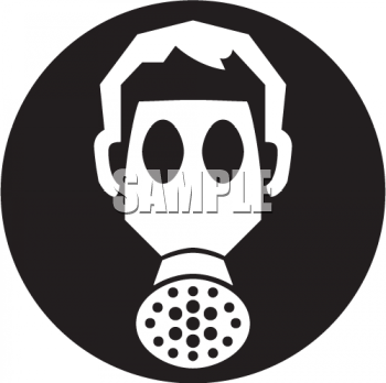 Royalty Free Clipart Image: Icon of a Person Wearing a Gas Mask.