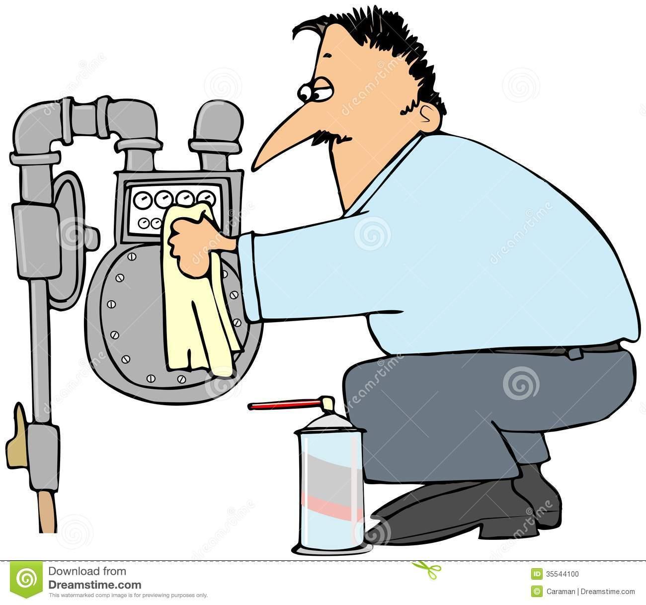 Gas Meter Man Stock Illustrations.