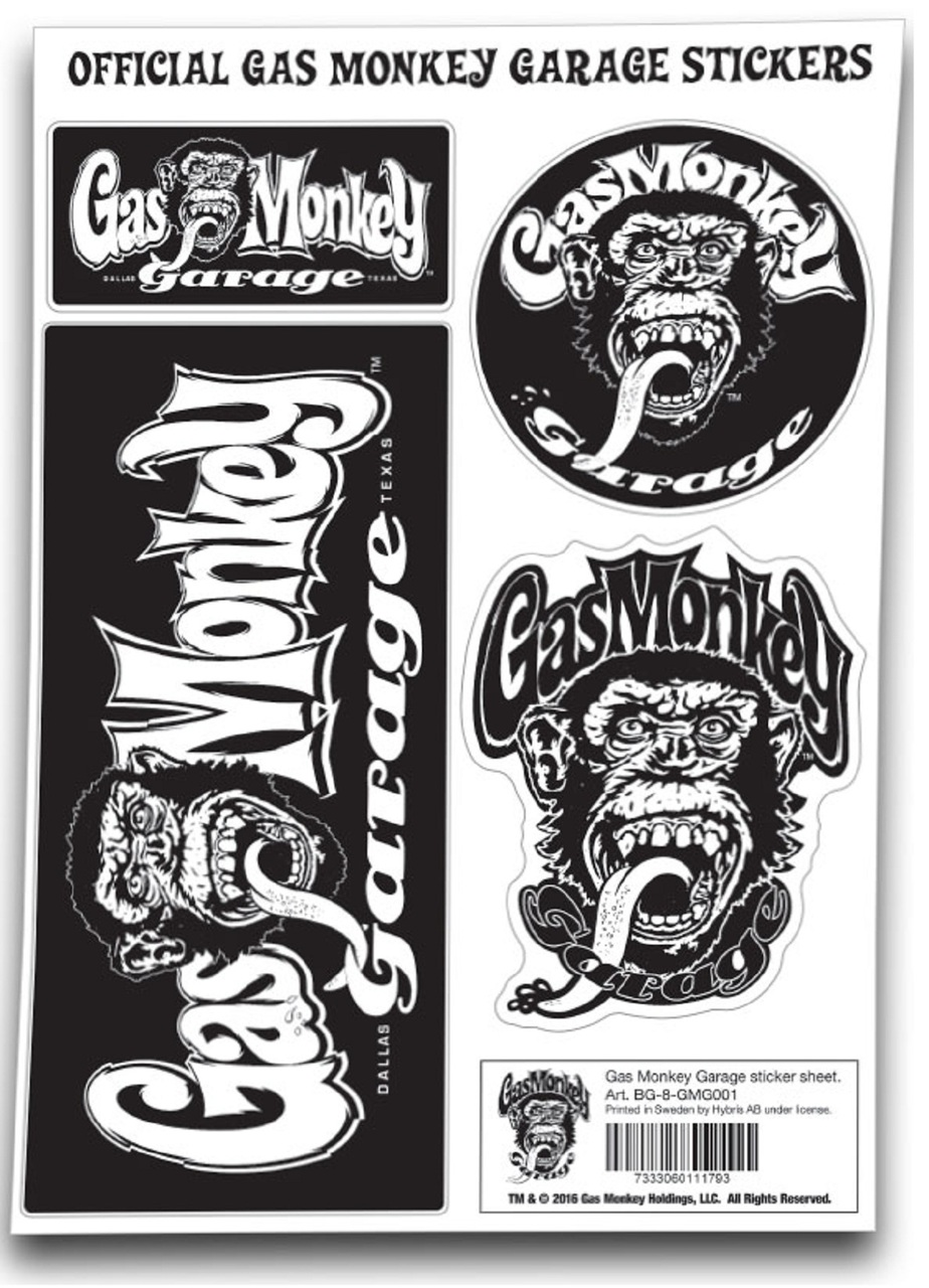 Gas Monkey Garage Sticker Set GMG Monkey Logo.