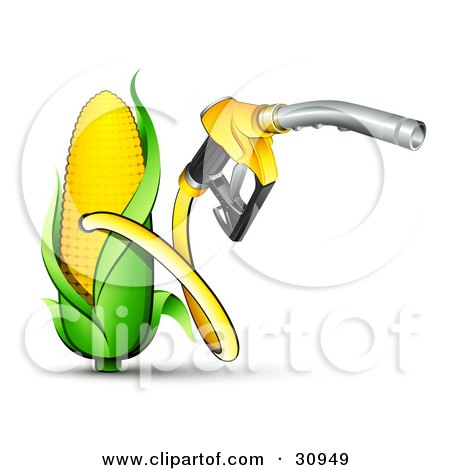 Clipart Illustration of a Yellow Gas Nozzle Emerging From A Yellow.