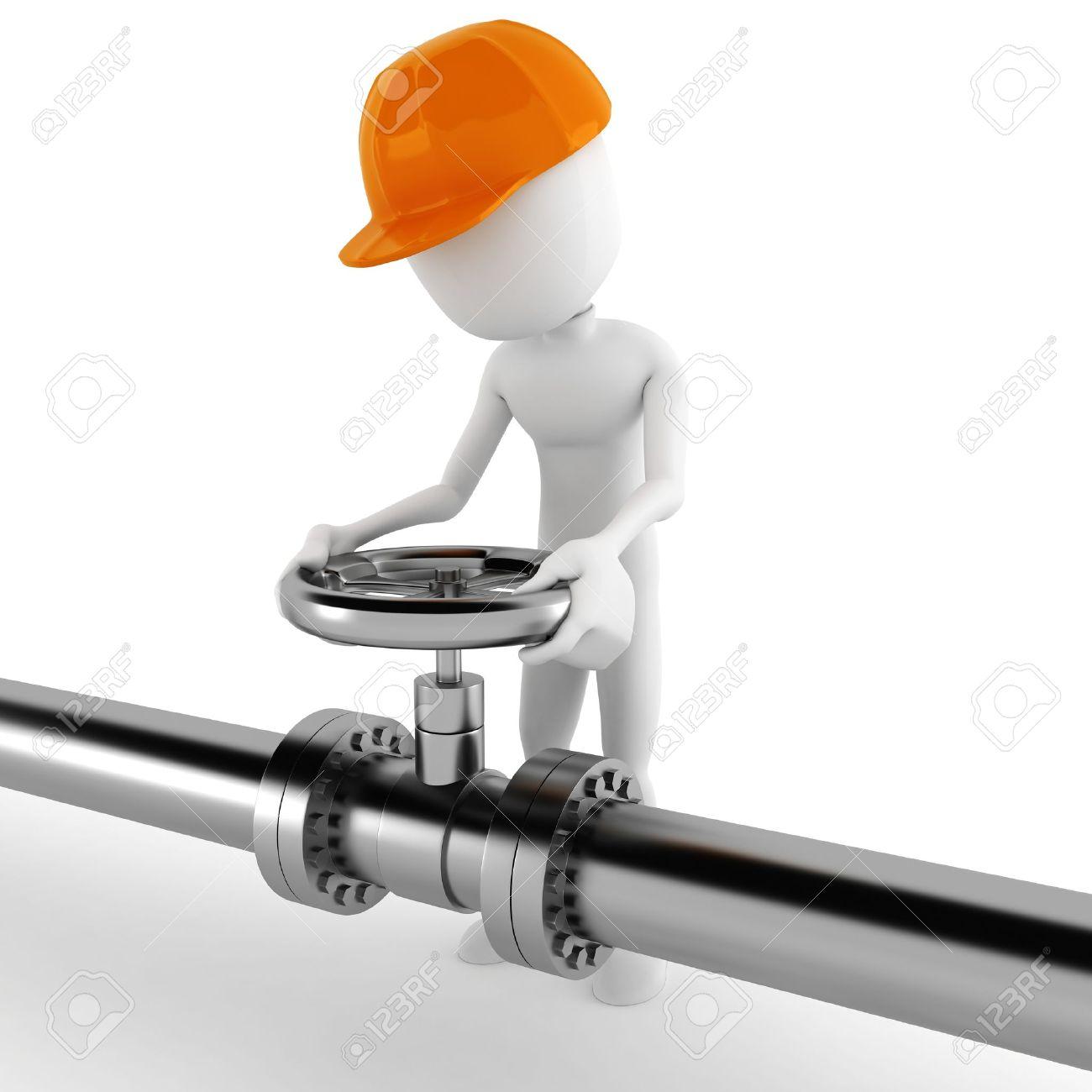 3d Man Worker And A Shiny Pipeline Stock Photo, Picture And.
