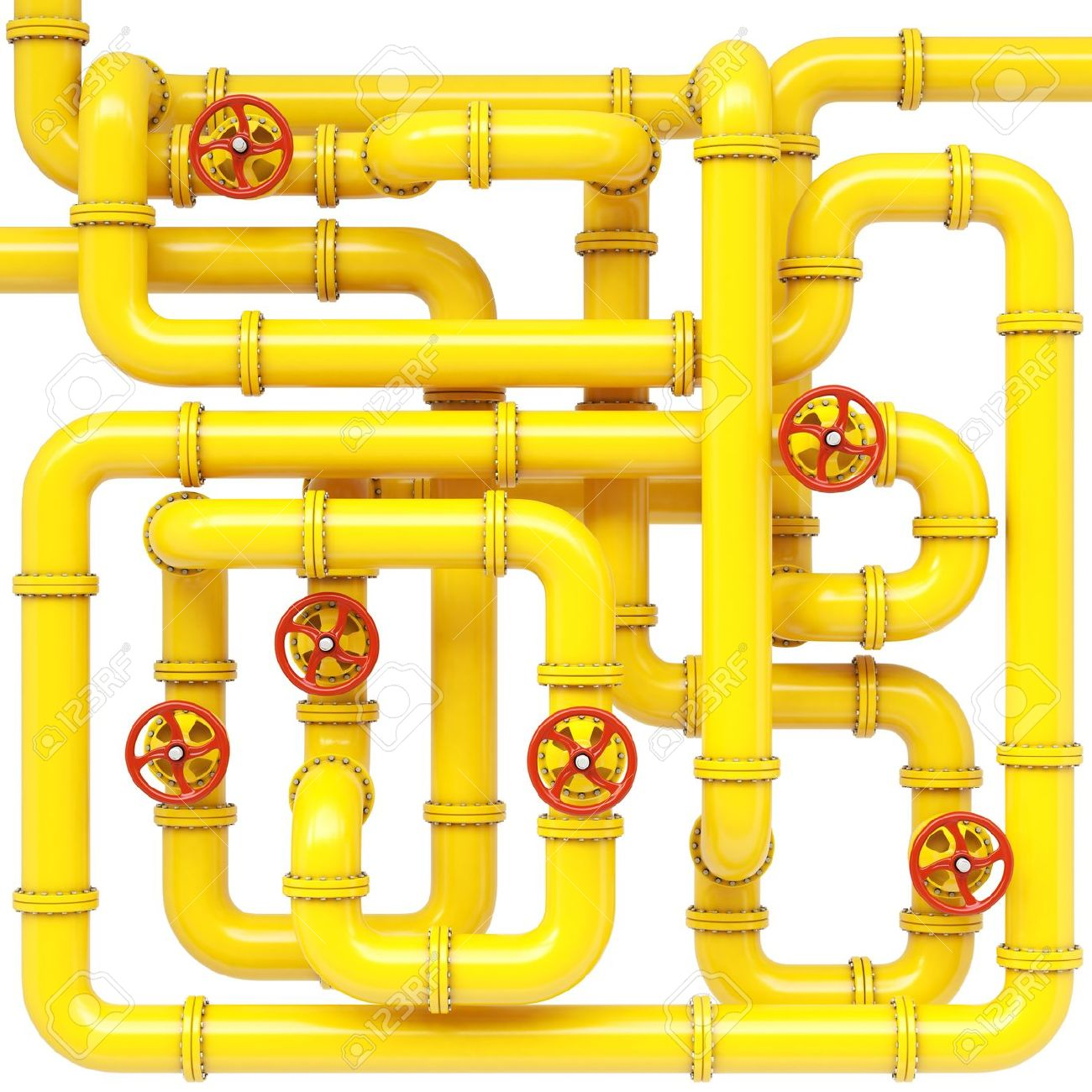 Maze Of Gas Pipes. Isolated On White. Stock Photo, Picture And.