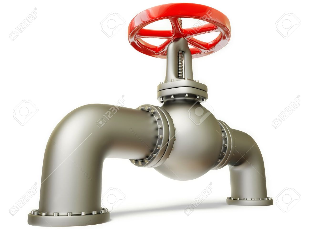 Gas Pipe With A Red Valve On White Stock Photo, Picture And.