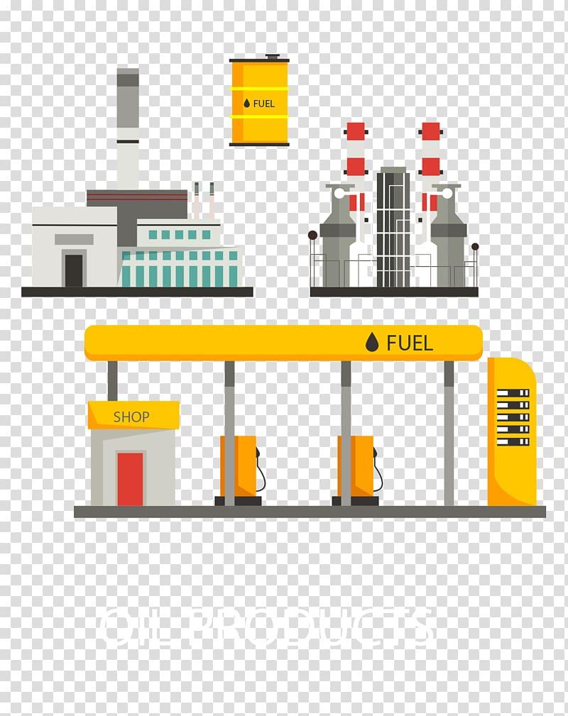 Illustration, illustration gas station building Flat.