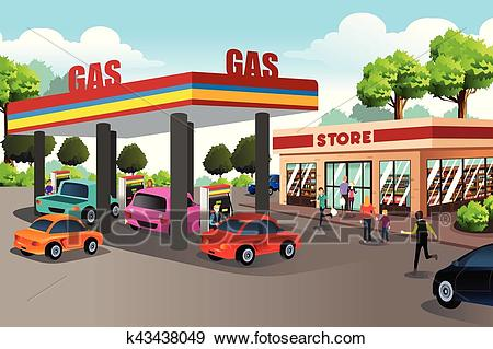 People at Gas Station and Convenience Store Clip Art.