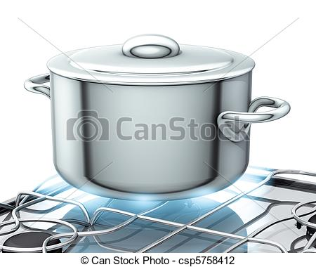 Clip Art of pot with gas stove.