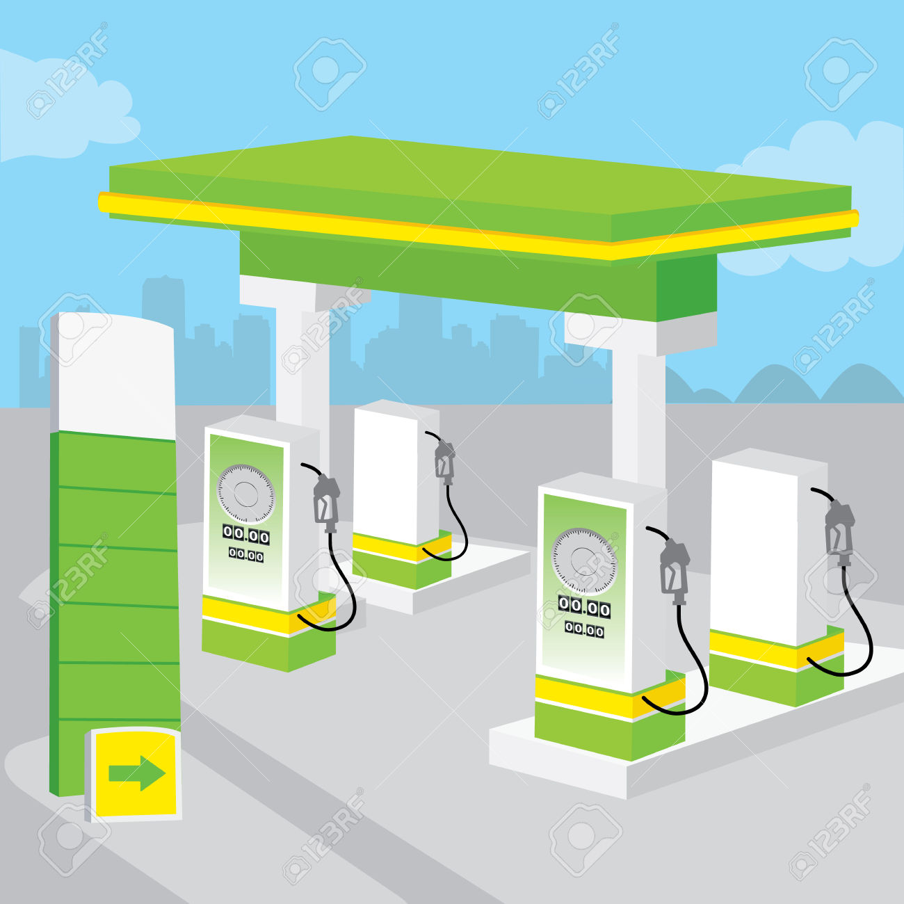 Petrol Gas Station Background Decorate Design Cartoon Vector.