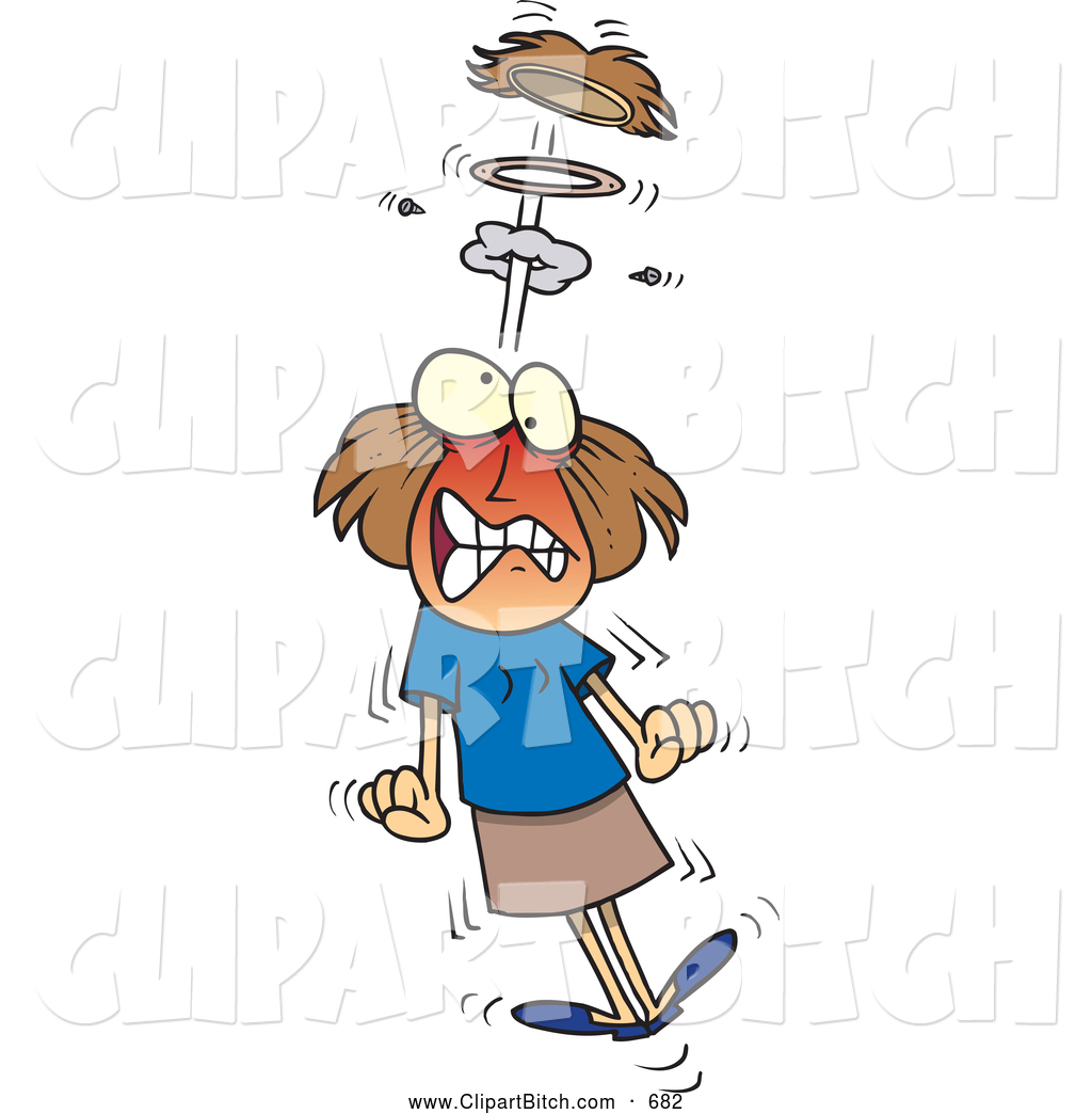 Clip Vector Cartoon Art of an Upset Cartoon Mad Woman Blowing a.