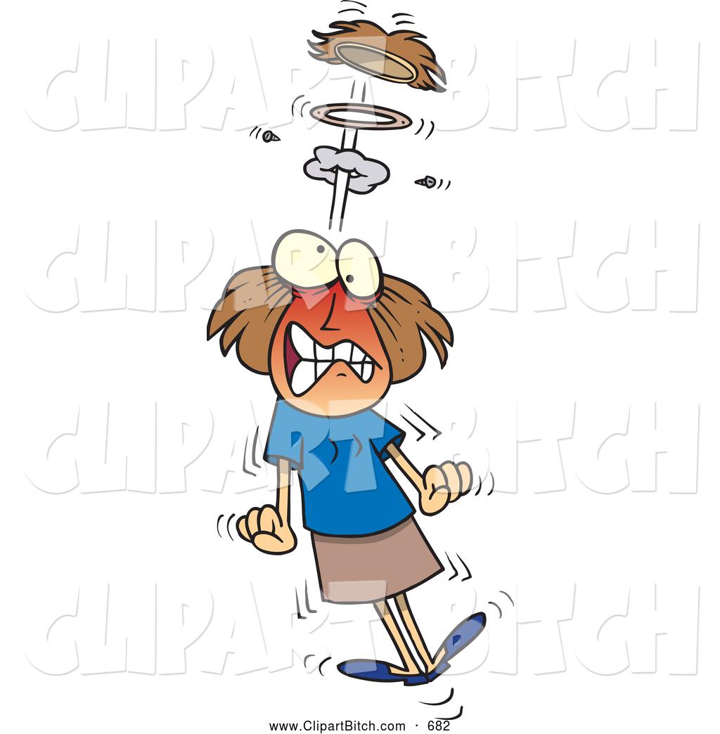 Clip Vector Cartoon Art of an Upset Cartoon Mad Woman Blowing a.