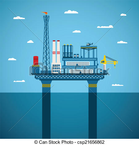 Clip Art Vector of Vector concept of oil and gas offshore industry.