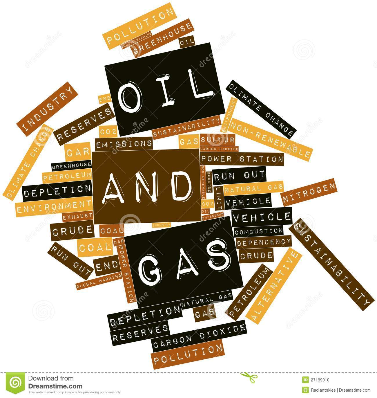 Word Cloud For Oil And Gas Stock Photo.
