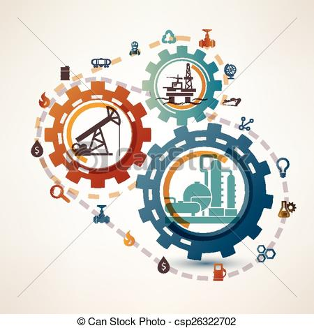 Vector Clipart of oil and gas industry infographics, extraction.