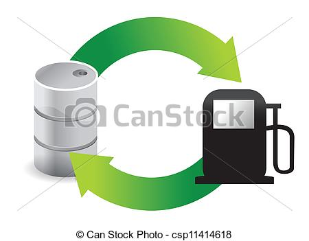 Vector Clip Art of gas oil cycle illustration design over white.