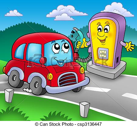 Stock Illustrations of Cute car at gas station.