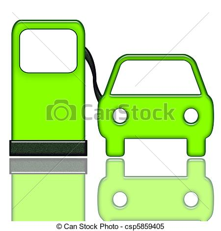 Stock Illustrations of Gas Station and Car.